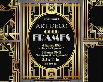 Frames Art Deco Clipart. Set of 6 digital metallic, gold frames in JPG and PNG formats. Printable. Instant download. Commercial  use.