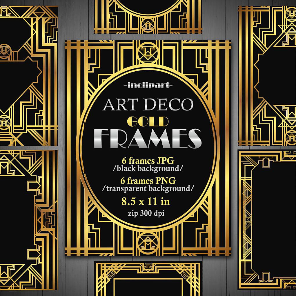 frames art deco clipart set of 6 digital metallic gold frames in jpg and png formats printable instant download commercial use