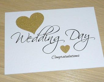On your Wedding Day -  Congratulations card - black and gold - hearts - Mr & Mrs - Bride and Groom - handmade greeting card