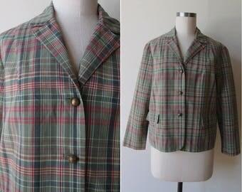 60's White Stag Sage green Madras jacket/blazer size medium