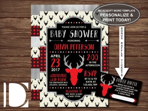 Woodland Deer Baby Shower Invitation Antlers Deer Head