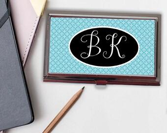 Monogram Business Card Case - Monogram Gift for Her - Business Card Holder - Aqua Blue Business Card Case