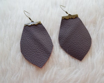 Paige Earrings in Maroon Leather and Bronze