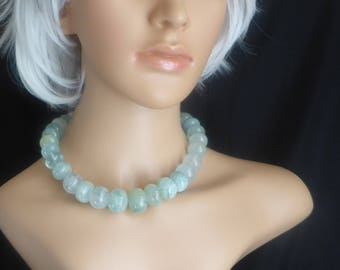 Necklace of Rare Gem-Quality Natural Colour Aquamarine Boulders