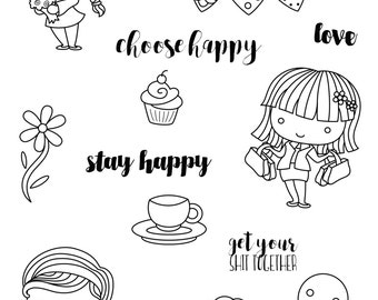 Happiness clear stamp set - decorative planner stamps suitable for any planner