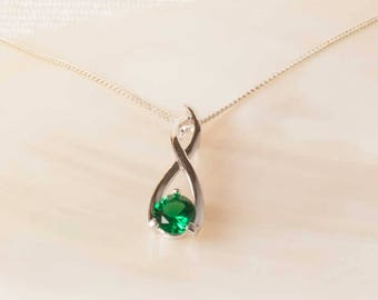 Raw emerald necklace in silver or gold may birthstone rough emerald silver pendant sterling silver lab emerald pendant emerald necklace emerald jewellery aloadofball Image collections
