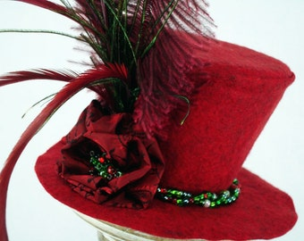 Red Mini Top Hat Headband, Hand Beaded Flower, Wool Blend Felt, Fascinator Hat, Christmas Holidays, Adults, READY TO MOUNT