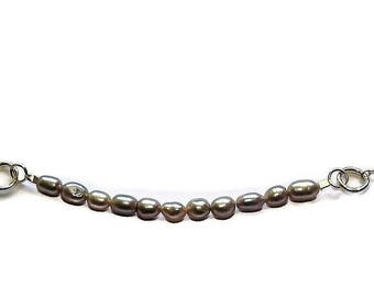 Freshwater pearl necklace silver pearl jewelry grey pearl beaded sterling silver chain necklace boho silver necklace  handmade necklace