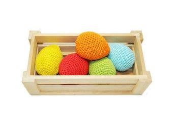 Easter decorations crochet easter eggs 5 pcs toys for kids gift for baby shower favors kids easter waldorf toys for toddler gift for mother