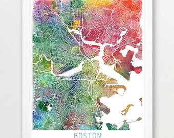 Boston City Urban Map Poster, Boston City Street Map Print, Watercolor Boston Map, Modern Wall Art, Home Decor, Travel Poster, Printable Art