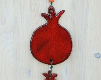 Ornamental Red Ceramic Pomegranate, Wall Decor, Ceramic Tile, Wall Hanging.
