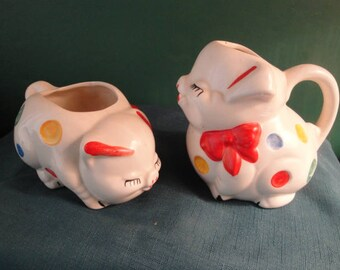 Vintage American Bisque Pottery Polka Dot Pig Creamer And Sugar Set From The 1950's - So Cute!