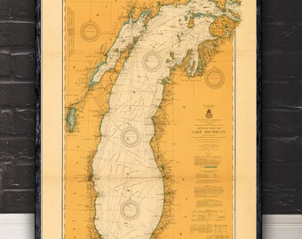 "Large/XL 1915 Lake Michigan nautical map reprint, Vintage Great Lakes nautical map/chart reprint - 6 sizes up to 72""x48 "" -in 3 three colors"