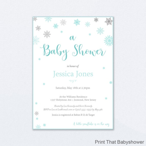 snowflake shower invitations neutral baby shower printable