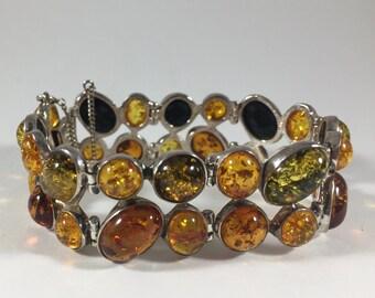 Silver multicolored Amber Bracelet