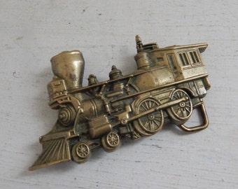 Solid Brass Train Locomotive Engine Baron Belt Buckle - c.1978 Brass Belt Buckle - Train Collectible - Train Lover Vintage Brass Belt Buckle