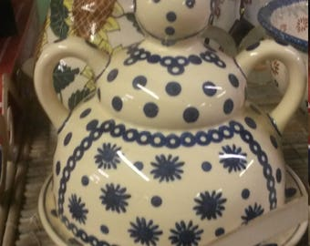 Vintage Polish Pottery Cheese Lady Dome with Underplate