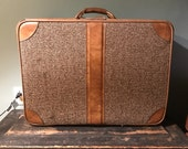Vintage Mid-Century Brown Faux Leather and Tweed Suitcase Luggage