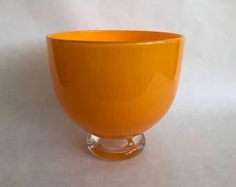 Large Hand Blown ART GLASS Bowl, Studio Made, Louisville Kentucky, Made in USA, Glass Artist Hand Made Bowl,Orange Glass Bowl,Clear Pedestal