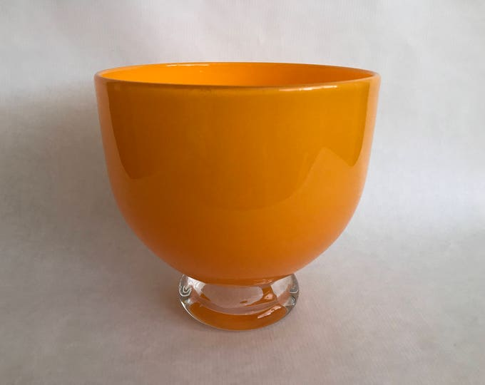 Featured listing image: Large Hand Blown ART GLASS Bowl, Studio Made, Louisville Kentucky, Made in USA, Glass Artist Hand Made Bowl,Orange Glass Bowl,Clear Pedestal