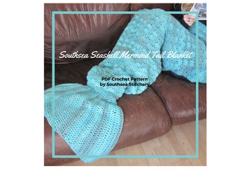PDF PATTERN for a Crochet Mermaid Tail Blanket (adult size but includes advice for scaling down to child and baby size)