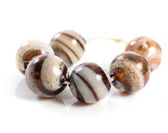 MTO - 1 (one)  Hollow blown organic glass lampwork bead/ Coffee and cream / handmade/ craft supplies / beading / Ivory