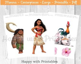 Moana Centerpieces - Moana large Centerpieces - Moana party - Moana birthday - Princess Moana Centerpieces - Moana printable - Maui - Pua