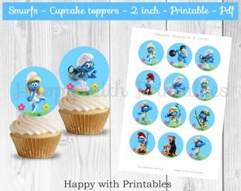 Smurfs cupcake toppers - Blue - Smurfs cake toppers - Smurfs 2 inch Toppers - Smurfs - Smurfs party - Smurfs printable- Smurfette - Papa
