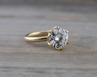 7.5mm Solitaire 14k Yellow Gold Round Forever Brilliant Moissanite Engagement Promise Ring Charles & Colvard