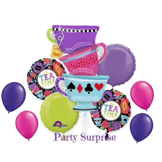 Topsy Turvy Cups Tea Time Alice in Wonderland Balloons
