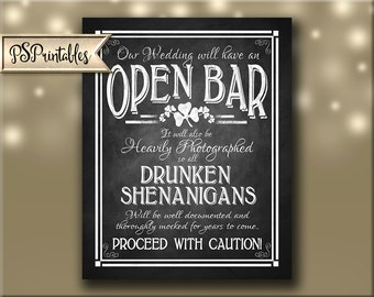Printable Irish Chalkboard Wedding Bar sign - Open Bar Drunken Shenanigans Wedding sign- St. Patricks Irish Wedding Lucky in Love Collection