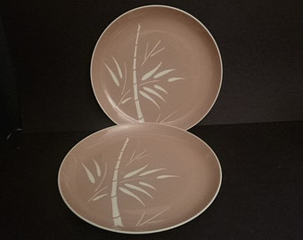 Harkerware Bamboo,  Harker Dinner Plate, Coral Beige Bamboo, 2 dinner plates,  Tropical plate, bamboo pattern, Vintage Harkerware,