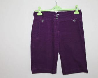 Purple Violet   Vintage Corduroy  Women Shorts Small Size