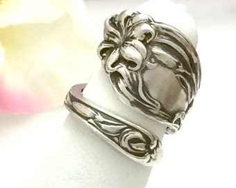 Sterling Silver Spoon Ring, Tiger LILY, Petite Size 3 - 7 Custom, Repurposed F Whiting Antique 1910 Vintage Silverware Jewelry Gift