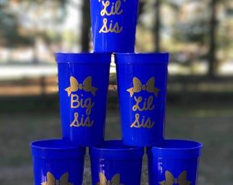 Big sis Lil sis cups/Sorority cups Set of 2