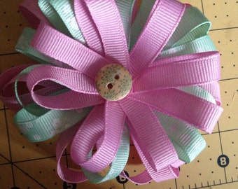 Pink and mint hair bow