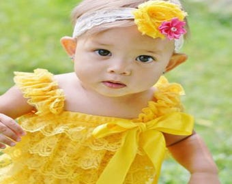 Yellow Lace Romper,Yellow Petti Romper,Babies Yellow Romper,Yellow Toddler Romper,Girls Yellow Romper,Yellow Petti,Easter Petti Romper