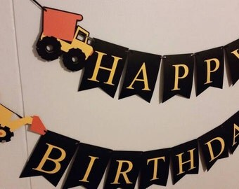 Happy Birthday Banner / Construction trucks / Tractor Party