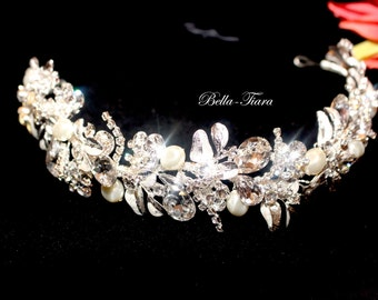 swarovski crystal headband, crystal wedding headband, wedding headpiece, crystal hair vine, wedding headband, pearl crystal headband