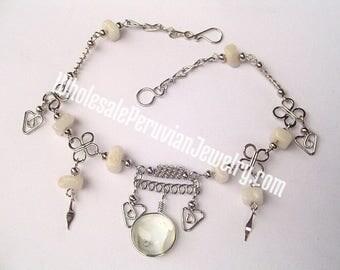 Round White Glass Alpaca Silver Clovers Anklet Peruvian Jewelry - Handmade in Peru