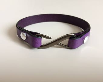 Purple Flat Leather with Infinity Clasp - Purple Leather Bracelet - Infinity Clasp Leather Bracelet - Infinity Leather Bracelet - Girl Gift