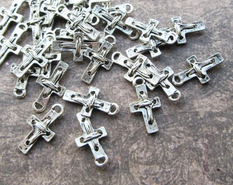20 Antique Silver Rustic Cross Charms  22x12mm