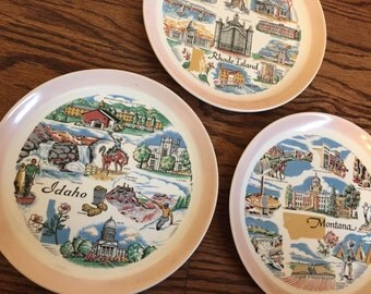 Vintage Souvenir state plates- Idaho, Montana, and Rhode Island