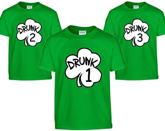 Drunk 1 Drunk 2 T-Shirts St. Patrick's day day shirts, Irish shirt, drunk 1 2 3 4