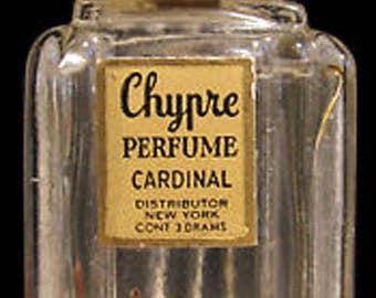 Vtg Chypre Perfume Mini Bottle Empty Cardinal Distributing New York 3 Drams