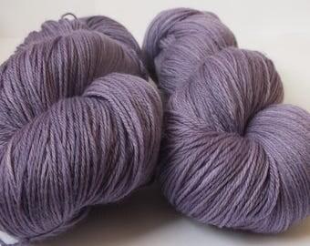 Hand dyed yarn, merino, 4ply, natural dye, logwood, purple, lavender