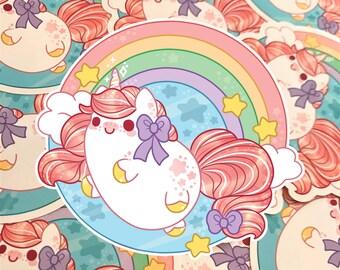 Kawaii Unicorn Nugget Sticker ( cute chibi rainbow stickers pastel )