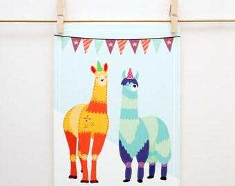 Party Llamas 8x10 Print // Handmade, Festive, Cute