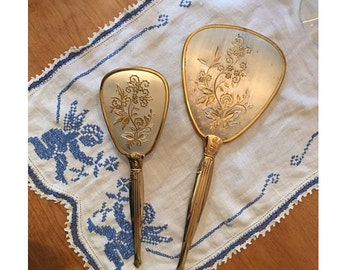Vintage Brush and Mirror Set Gold with Silver Mid Century Vanity Brush and Mirror Set Lovely Gift