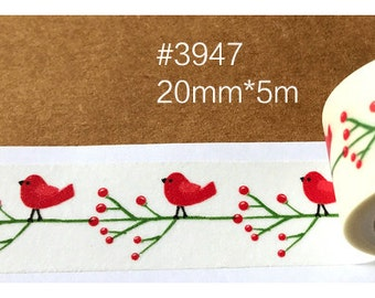 Red Bird Washi Tape -- Masking Washi Tape -Deco tape-- 20mm x5M